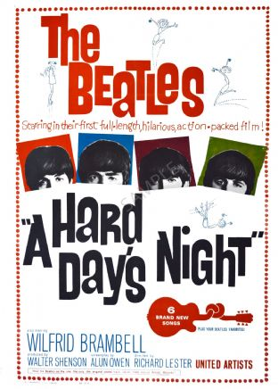 The Beatles , A Hard Days Night - Film Advertising Poster
